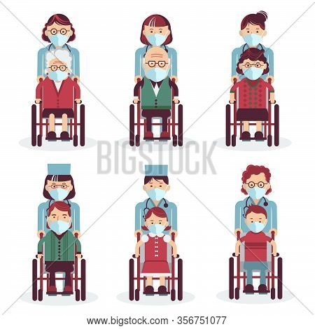 Disabled People In Wheelchairs. Medical Workers In Uniform. Vector Medical Icons People In Masks