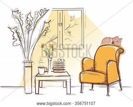 Interior Room With Retro Armchair And Sleeping Red Cat In The Morning Summer Day. Vector Sketchy Ill