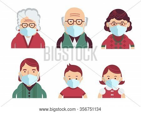 Family Wearing Protective Medical Masks For Prevent Virus Covid-19. Vector Avatars Of People In Medi