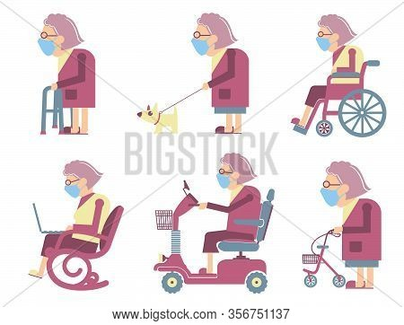 Senior Old Woman Wearing Mask Protect Covid-19. Vector Avatars Of Old Woman In Medical Masks. Elderl