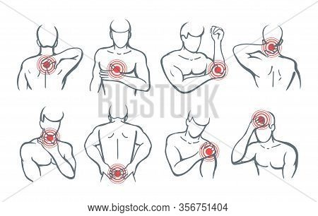 Vector Body Painful Parts. Pain And Trauma Illustration Images With Red Circles Icons On Man Shoulde