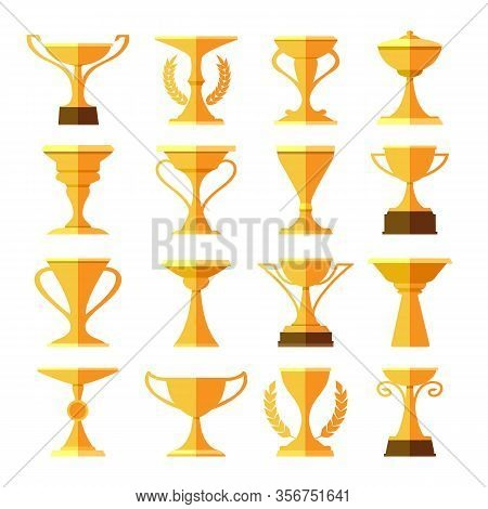 Victory Leaderships Trophy Cups. Gold Cup Vector Symbols For Sport Game Event Prize, Golden Winning