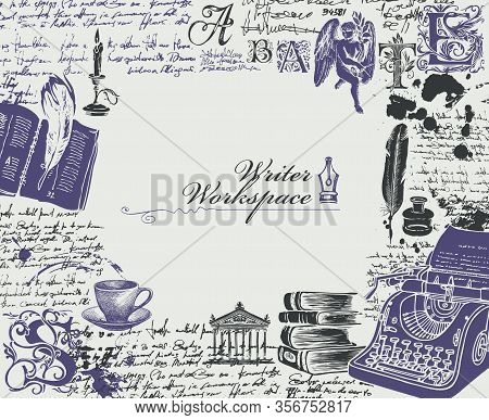 Vector Banner On A Writers Theme In Vintage Style. Writer Workspace With Sketches And Place For Text