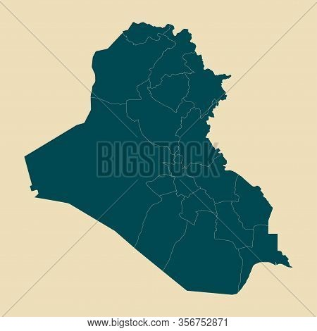 Iraq Map With Boundaries Vector Illustration.dutch White Mid Night Green Color.