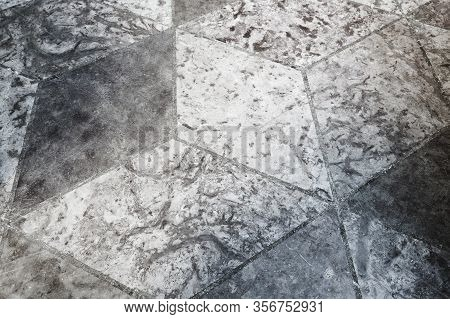Grungy Floor Tiling With Abstract Cubic Pattern, Background Texture