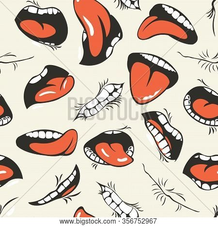 Vector Seamless Pattern With Human Mouths, Tongue And Teeth On A Light Background. Wallpaper, Wrappi