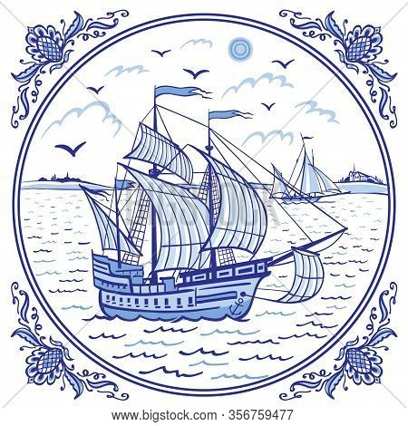 Sailing Ship At Sea, Seascape In A Patterned Frame, Illustration In Folk Style, Eastern Or European