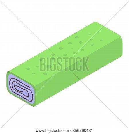 Green Turkish Sweet Roll Icon. Isometric Of Green Turkish Sweet Roll Vector Icon For Web Design Isol