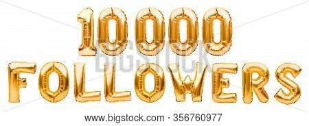 Word Followers Made Of Golden Inflatable Balloons Isolated On White Background. Helium Balloons Gold