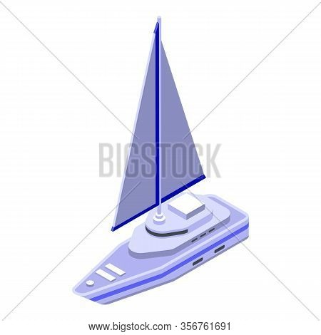 Yacht Sailboat Icon. Isometric Of Yacht Sailboat Vector Icon For Web Design Isolated On White Backgr