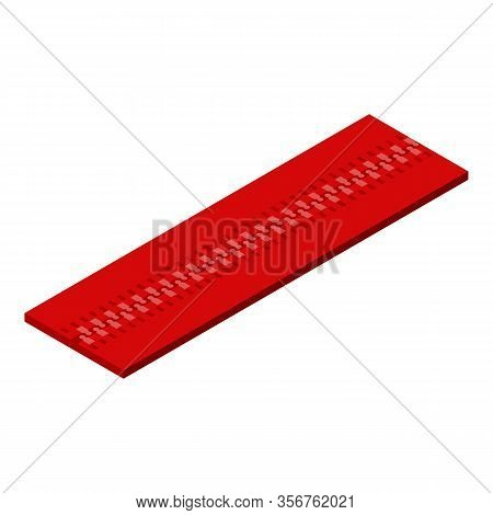 Red Zipper Icon. Isometric Of Red Zipper Vector Icon For Web Design Isolated On White Background