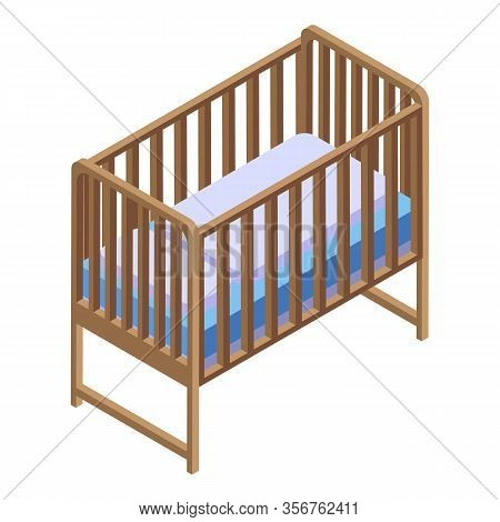 Baby Bed Icon. Isometric Of Baby Bed Vector Icon For Web Design Isolated On White Background