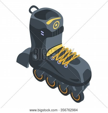 Sport Inline Skates Icon. Isometric Of Sport Inline Skates Vector Icon For Web Design Isolated On Wh