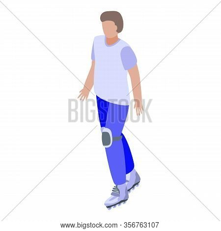 Sporty Roller Boy Icon. Isometric Of Sporty Roller Boy Vector Icon For Web Design Isolated On White