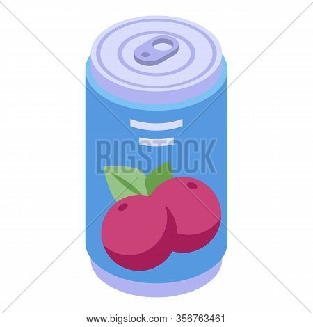 Mangosteen Soda Drink Icon. Isometric Of Mangosteen Soda Drink Vector Icon For Web Design Isolated O