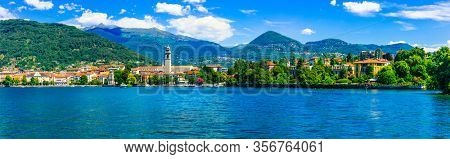 Picturesque lake Lago Maggiore. view of charming town Pallanza. beautiful nature of Northern Italy, Lombardia