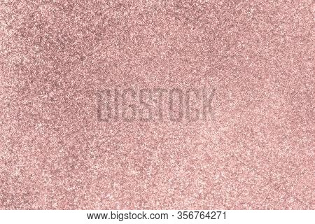 Pale Pink Glitter Twinkle Abstract New Year Or Christmas Holiday Background With Sparkles. Modern Lu