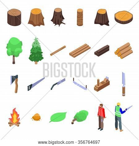 Deforestation Icons Set. Isometric Set Of Deforestation Vector Icons For Web Design Isolated On Whit