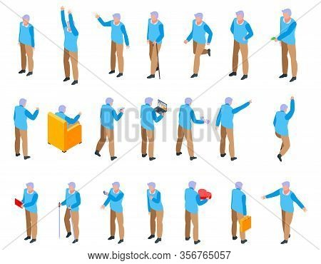 Grandfather Icons Set. Isometric Set Of Grandfather Vector Icons For Web Design Isolated On White Ba