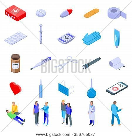 First Medical Aid Icons Set. Isometric Set Of First Medical Aid Vector Icons For Web Design Isolated