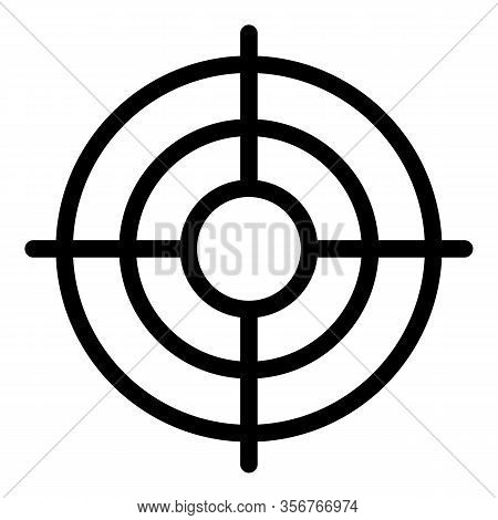 Aim Target Icon. Outline Aim Target Vector Icon For Web Design Isolated On White Background