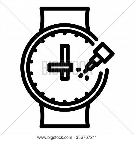 Glue Watch Repair Icon. Outline Glue Watch Repair Vector Icon For Web Design Isolated On White Backg