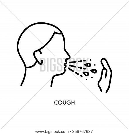 Cough Line Icon. Sign Of Flu Or Coronavirus Symptom. Personal Hygiene - Covering Mouth With Hand Whi