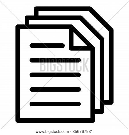 Summary Papers Icon. Outline Summary Papers Vector Icon For Web Design Isolated On White Background