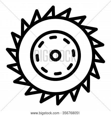 Circular Saw Blade Icon. Outline Circular Saw Blade Vector Icon For Web Design Isolated On White Bac