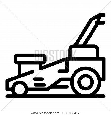 Gasoline Lawn Mower Icon. Outline Gasoline Lawn Mower Vector Icon For Web Design Isolated On White B