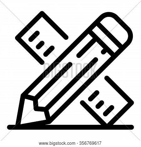 Tiler Ruler Icon. Outline Tiler Ruler Vector Icon For Web Design Isolated On White Background