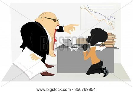 Caucasian Boss Scolds An African Employee Illustration. Angry Caucasian Chief Scolds Kneeling Africa