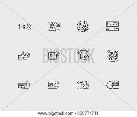 Elearning Icons Set. Geography And Elearning Icons With Distance Leaning, Astrophysics And Rulers. S