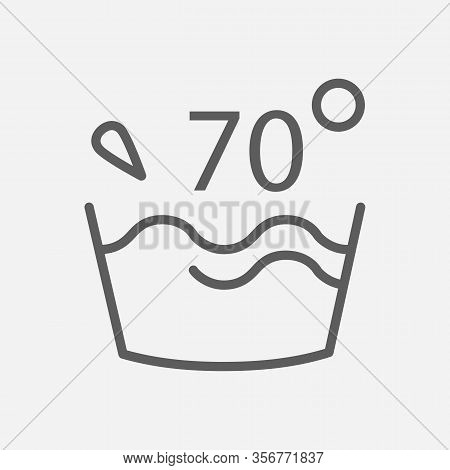 Water Temperature 70 Deg Icon Line Symbol. Isolated Vector Illustration Of Icon Sign Concept For You