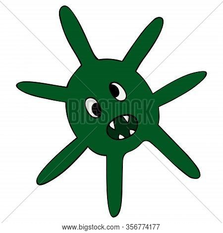 Color Vector Illustration Of Coronavirus. Caricature. The Causative Agent Of A Dangerous Disease On