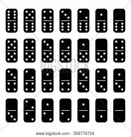 Domino Set Of 28 Tiles. Black Pieces With White Dots. Simple Flat Vector Illustration