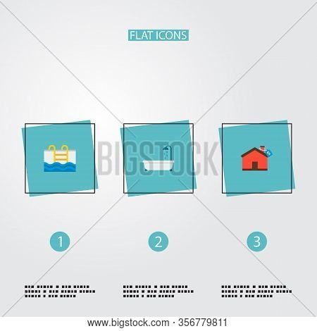 Set Of Realestate Icons Flat Style Symbols With Mortgage, Pool, Bathtub And Other Icons For Your Web