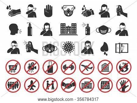 Big Set Of Coronavirus Icons. Preventive Virus Protection Measures, Quarantine Icons, Prohibition Sy