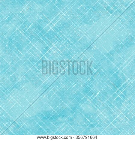Watercolor Stripe Diagonal Plaid Seamless Pattern. White Stripes On Teal Turquoise Background. Water