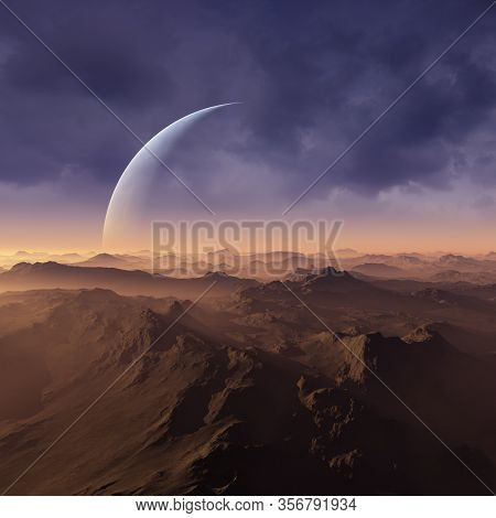 3d Rendered Space Art: Alien Planet - A Fantasy Landscape With Blue Skies And Clouds
