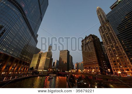 Chicago River at sunset