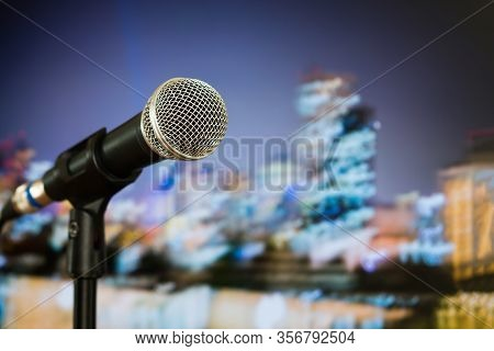 Microphone For Speaker On Speech In Seminar Room Or Speaking Conference Hall At Public Stage On Podi