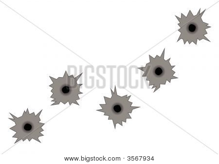 Gunshot Marks Over Metal