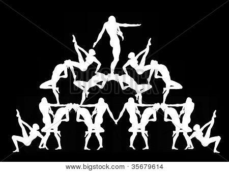 Human Pyramid in Black