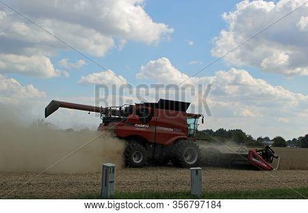 Effingham, Il - October 10: A Modern Combine Harvester Working On A Crop 2013