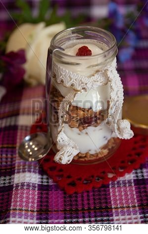 Ready Lean Dish For Breakfast: Homemade Granola With Applesauce - Modern Cuisine, Food Photo