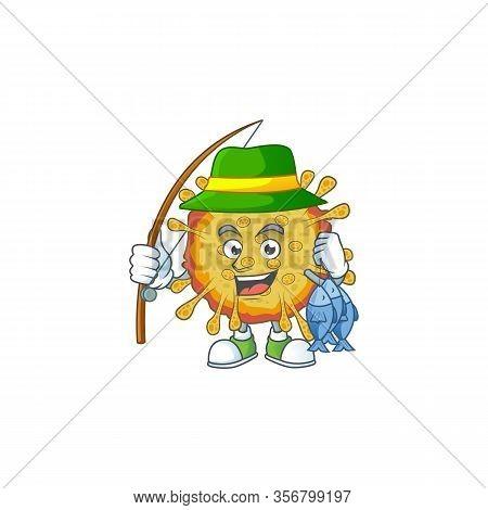 Cartoon Character Of Funny Fishing Outbreaks Coronavirus