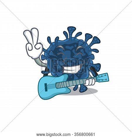 Supper Cool Decacovirus Cartoon Playing A Guitar