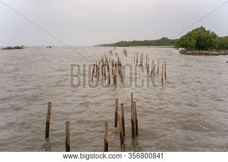 Sea Barrier In Samut Sakhon Province Of Thailand