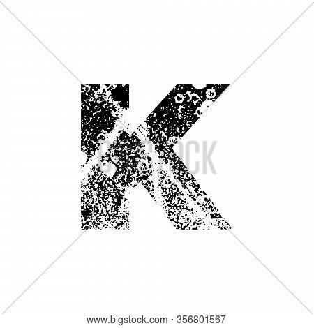 Painted Letter K. Grunge Alphabet Font. Abstract Handmade Sans Serif Typeface. Distress Textured Abc